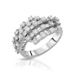 Natural 1.50 CTW Diamond & Baguette Ring 18K White Gold - REF-214T2X
