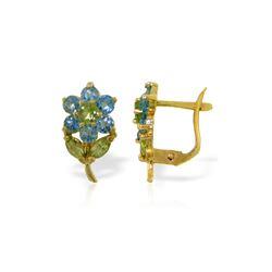 Genuine 2.12 ctw Blue Topaz & Peridot Earrings 14KT Yellow Gold - REF-36R8P