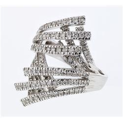 Natural 1.15 CTW Diamond Ring 18K White Gold - REF-197W3H