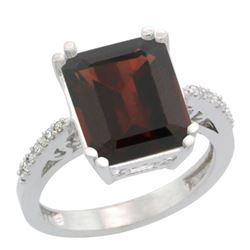5.52 CTW Garnet & Diamond Ring 14K White Gold - REF-56M5K