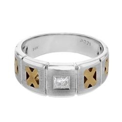 Natural 0.21 CTW Princess Diamond Ring 14K Two Tone Yellow Gold - REF-99K9R