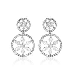 Natural 2.29 CTW Diamond & Marquise Earring 14K White Gold - REF-216W2H
