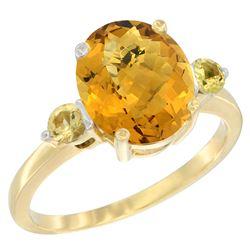 2.64 CTW Quartz & Yellow Sapphire Ring 14K Yellow Gold - REF-31X4M