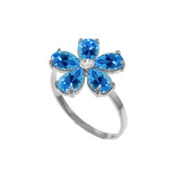 Genuine 2.22 ctw Blue Topaz & Diamond Ring 14KT White Gold - REF-35F9Z