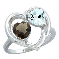 2.61 CTW Diamond, Quartz & Aquamarine Ring 10K White Gold - REF-27R9H