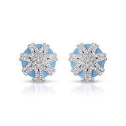 Natural 15.32 CTW Turquoise & Diamond Earrings 14K White Gold - REF-124W2H
