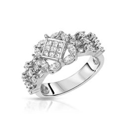 Natural 1.23 CTW Diamond & Marquise Ring W=8MM 18K Gold - REF-174T6X