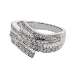 Natural 0.91 CTW Baguette & Diamond Ring 18K White Gold - REF-133W2H