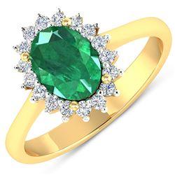 Natural 1.87 CTW Zambian Emerald & Diamond Ring 14K Yellow Gold - REF-77T3H
