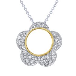 Natural 0.19 CTW Diamond Necklace 14K Two Tone Yellow Gold - REF-45N2Y
