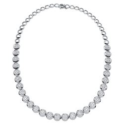 Natural 3.81 CTW Diamond Necklace 18K White Gold - REF-675T9X