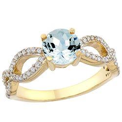 1 CTW Aquamarine & Diamond Ring 14K Yellow Gold - REF-52N2Y