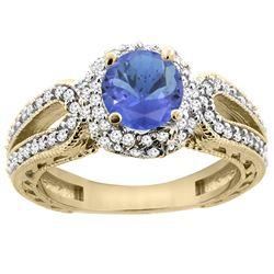 1.34 CTW Tanzanite & Diamond Ring 14K Yellow Gold - REF-92M9K