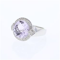 Natural 5.71 CTW Amethyst & Diamond Ring 18K White Gold - REF-86F4M