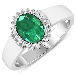 Natural 2.3 CTW Zambian Emerald & Diamond Ring 14K White Gold - REF-51N6R