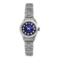 Rolex Pre-owned 26mm Womens Custom Blue Vignette Stainless Steel