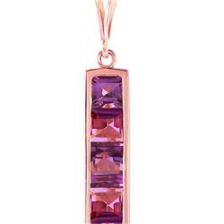 Genuine 2.25 ctw Amethyst Necklace 14KT Rose Gold - REF-36Y9F