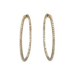 Natural 6.12 CTW Diamond Earrings 14K Yellow Gold - REF-576K9R