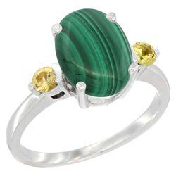 2.99 CTW Malachite & Yellow Sapphire Ring 14K White Gold - REF-30M3A