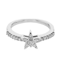 Natural 0.40 CTW Diamond & Baguette Ring 14K White Gold - REF-64T8X