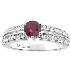 1.40 CTW Ruby & Diamond Ring 14K White Gold - REF-67F6N