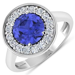 Natural 2.58 CTW Tanzanite & Diamond Ring 14K White Gold - REF-101K7W