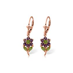 Genuine 2.12 ctw Peridot & Amethyst Earrings 14KT Rose Gold - REF-42W4Y