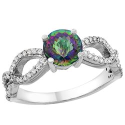 1.25 CTW Mystic Topaz & Diamond Ring 14K White Gold - REF-49Y8V