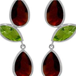Genuine 13.6 ctw Garnet & Peridot Earrings 14KT White Gold - REF-64T4A