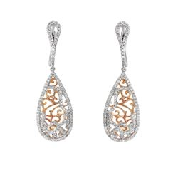 Natural 0.70 CTW Diamond Earrings 14K Two Tone Rose Gold - REF-69F3M