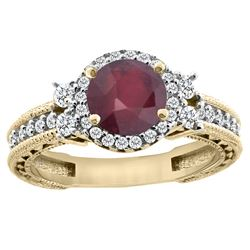 1.46 CTW Ruby & Diamond Ring 14K Yellow Gold - REF-77H7M