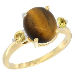 2.54 CTW Tiger Eye & Yellow Sapphire Ring 14K Yellow Gold - REF-30K3W