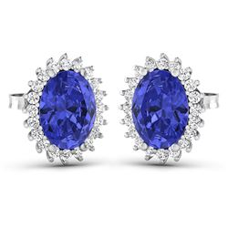 Natural 2.56 CTW Tanzanite & Diamond Earrings 14K White Gold - REF-48K3W