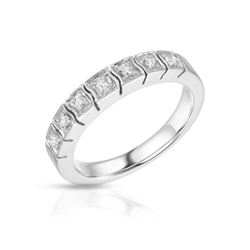 Natural 0.19 CTW Diamond Band Ring 14K White Gold - REF-72W2H