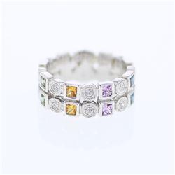 Natural 0.87 CTW Multi-Sapphire & Diamond Ring 14K White Gold - REF-78N3Y
