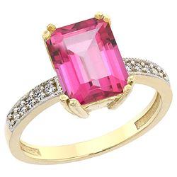 3.70 CTW Pink Topaz & Diamond Ring 10K Yellow Gold - REF-32W2F