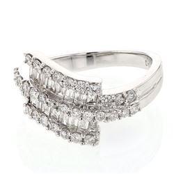 Natural 1.21 CTW Diamond & Baguette Ring 18K White Gold - REF-167W4H