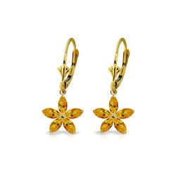 Genuine 2.8 ctw Citrine Earrings 14KT Yellow Gold - REF-46H7X