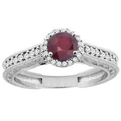 1.29 CTW Ruby & Diamond Ring 14K White Gold - REF-57R9H