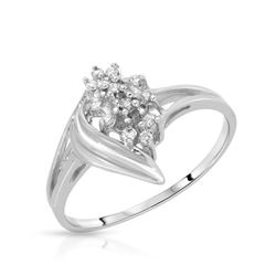 Natural 0.10 CTW Diamond Ring 14K White Gold - REF-23W4H