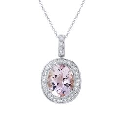 Natural 5.44 CTW Amethyst & Diamond Necklace AMETHYST 14K Gold - REF-96W3H