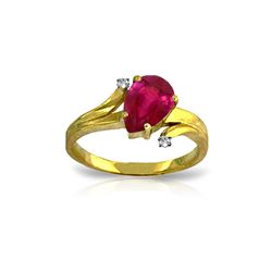 Genuine 1.51 ctw Ruby & Diamond Ring 14KT Yellow Gold - REF-56P3H