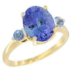 2.63 CTW Tanzanite & Blue Sapphire Ring 14K Yellow Gold - REF-63X7M