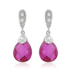 Natural 7.50 CTW Pink Sapphire & Diamond Earrings 14K White Gold - REF-36K2R
