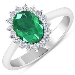 Natural 1.87 CTW Zambian Emerald & Diamond Ring 14K White Gold - REF-77X3K