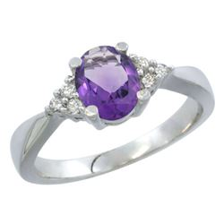 1.06 CTW Amethyst & Diamond Ring 10K White Gold - REF-28M4A