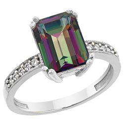 3.70 CTW Mystic Topaz & Diamond Ring 14K White Gold - REF-40W2F