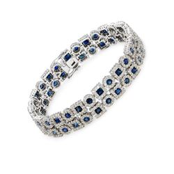 Natural 17.55 CTW Sapphire & Diamond Bracelet 14K White Gold - REF-730W8H