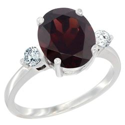 2.60 CTW Garnet & Diamond Ring 14K White Gold - REF-70A9X