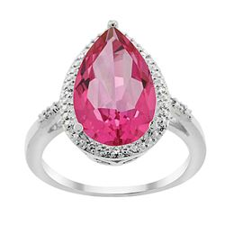 5.55 CTW Pink Topaz & Diamond Ring 10K White Gold - REF-34F8N